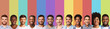 Panoramic collage of young guys smiling over colorful backgrounds
