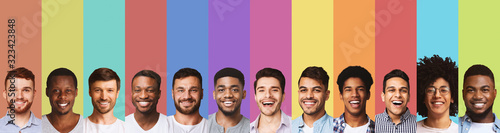 Fotografía Panoramic collage of young guys smiling over colorful backgrounds