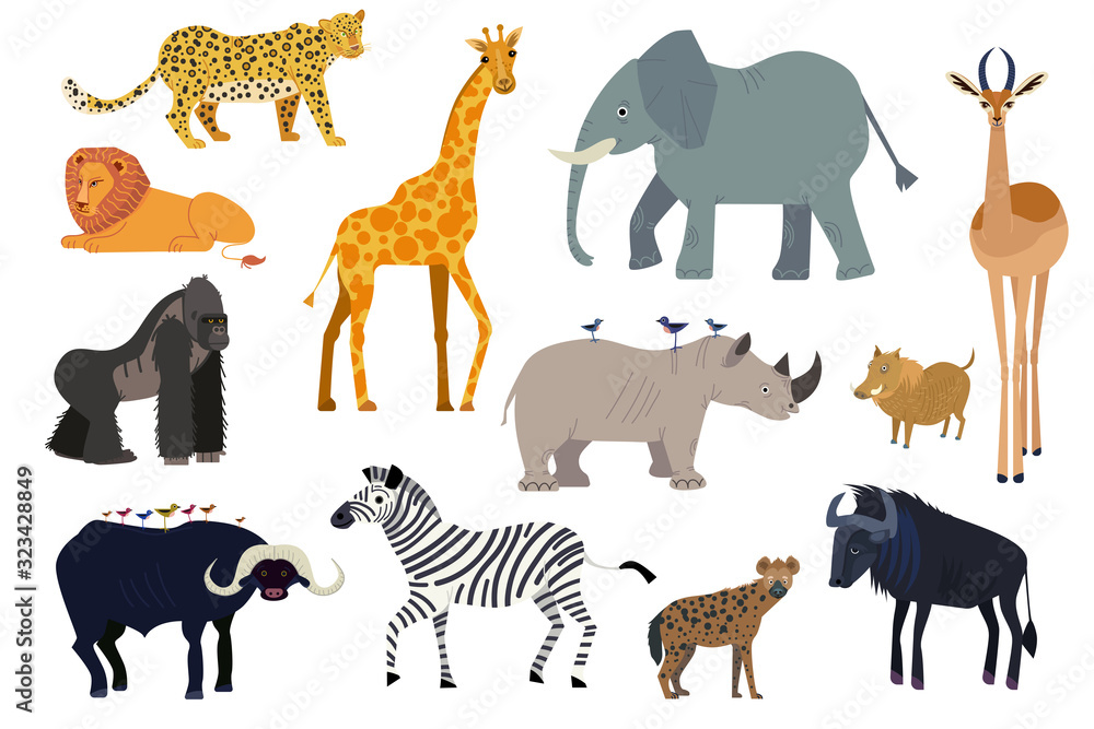 Fototapeta African animals, set of isolated cartoon characters elephant, giraffe and rhino, vector illustration. Wildlife animal of Africa, exotic safari travel. Lion, zebra, gorilla, antelope and hyena isolated