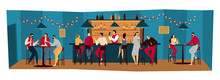 People Bar, Friends Meet In Pub Night Restaurant, Men And Women Drink Alcohol, Vector Illustration. Group Of People Relax In Bar After Work, Friday Evening In Restaurant. Bartender In Night Pub