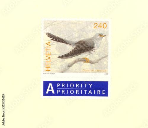 Obraz na plátně Briefmarke stamp Helvetia Schweiz Swiss gestempelt used frankiert 240 Cuculus ca