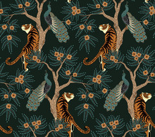 Seamless Pattern With Tiger And Peacock On Tree With Flowers In Asian Style