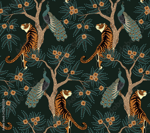 mata magnetyczna Seamless pattern with tiger and peacock on tree with flowers in asian style