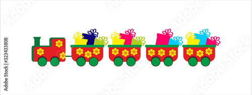 Children colorful train with presents Canvas Print