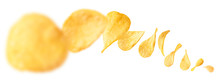 Potato Chips Levitate On A Whi...