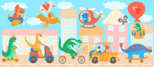 Cute Dinosaurs Cartoon Characters Riding Transport, Vector Illustration. Dino Town With Childish Animals Street Traffic, Dinosaur Driving Car, Scooter, Bicycle, Airplane And Helicopter. Cartoon City