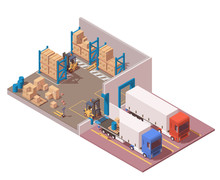 Isometric Modern Warehouse. Illustration Include Semi Trucks, Pallets, Boxes, Forklift And Pallet Jack. Storage Icon. Isolated On White.