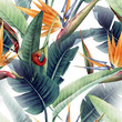 canvas print picture - Seamless floral pattern with tropical leaves and strelitzia on light background. Template design for textiles, interior, clothes, wallpaper. Watercolor illustration