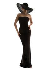 Fashion Model Long Dress Wide Brim Hat, Elegant Woman In Black Gown, Full Length On White Background