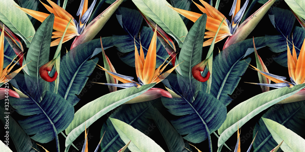 Fototapeta Seamless floral pattern with tropical leaves and strelitzia on red background. Template design for textiles, interior, clothes, wallpaper. Watercolor illustration