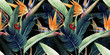 canvas print picture - Seamless floral pattern with tropical leaves and strelitzia on red background. Template design for textiles, interior, clothes, wallpaper. Watercolor illustration