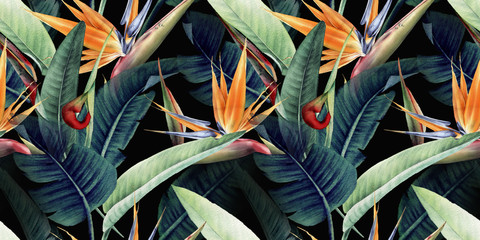 Fototapeta Egzotyczne Seamless floral pattern with tropical leaves and strelitzia on red background. Template design for textiles, interior, clothes, wallpaper. Watercolor illustration