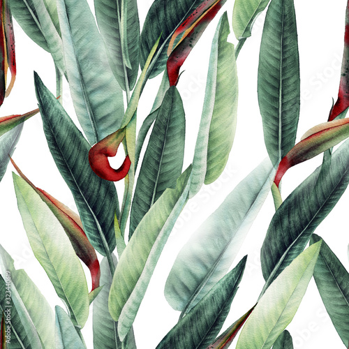 Obraz Seamless floral pattern with tropical leaves and strelitzia on light background. Template design for textiles, interior, clothes, wallpaper. Watercolor illustration - fototapety do salonu