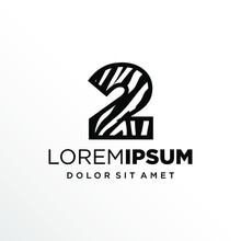 Initial Number 2 Zebra Logo Design