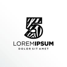 Initial Number 5 Zebra Logo Design