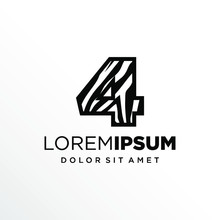 Initial Number 4 Zebra Logo Design