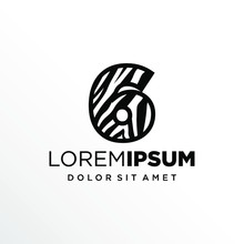 Initial Number 6 Zebra Logo Design