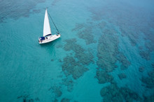 Aerial Drone Photo Of Luxury Sail Boat Cruising In The Deep Blue Mediterranean Sea, Crete Greece