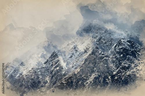 cyfrowe-malowanie-akwarelami-oszalamiajacych-szczegolowych-krajobrazow-z-osniezonymi-gorami-pen-yr-ole-wen-w-snowdonia