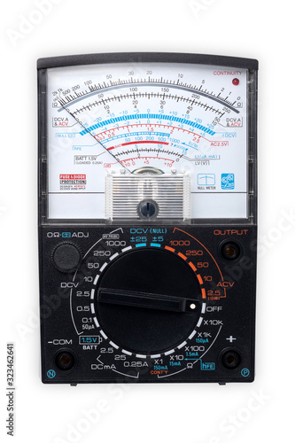 Analog multimeter isolated on white background, industrial and education concept Canvas Print