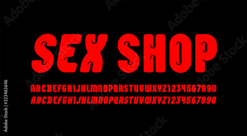 Fotografie, Obraz Sexy bold font, trendy beautiful alphabet in the erotic style, modern red letter