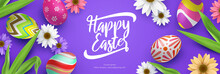 Cute 3d Happy Easter Celebration Banner With Colorful Flower And Eggs Vector Illustration