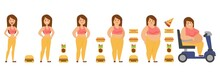 Stages Of Obesity Process Vector Illustration, Woman Cartoon Character Body Transformation To Overweight Obese Person In Carriage. Girl Becomes Fat Because Of Taco, Pizza, Burger And Hot Dog Eating.