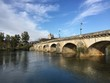 The Grand-Pont de Dole bridge and the Doubs river in Dole, France.
