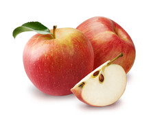 Two Apples With Beautiful Slices Of Apple Isolated On White Background.