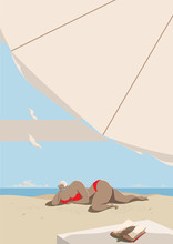 A Girl In A Red Swimsuit With Mouth-watering Body Shapes Sunbathes On The Seashore. Seagulls In The Blue Sky, A Book On A Table Under An Umbrella