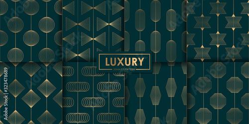 Luxury geometric seamless pattern set, Abstract background, Decorative wallpaper. - fototapety na wymiar