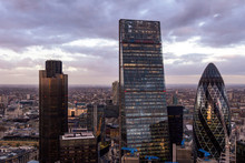 London Cityscape At Dusk With ...