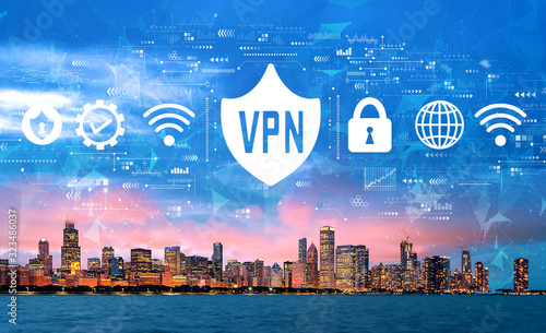 VPN concept with downtown Chicago cityscape skyline with Lake Michigan