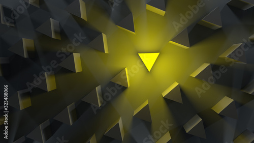 Fototapeta outstanding yellow coalescing prism among gray simple prisms on a dark background. minimal flat lay contept outstanding from a number. 3d render visualization of an idea. obraz