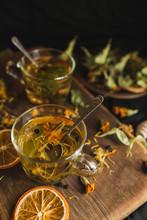 Brewed Herbal Tea In Glass Cup...