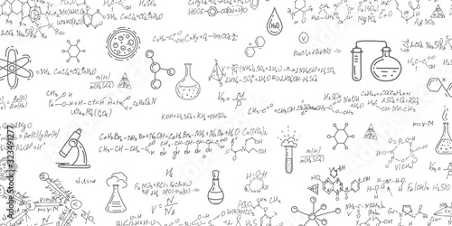 Obraz School background in chemistry .Handwritten formulas background.Letters and numbers . - fototapety do salonu