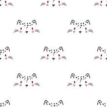 Little Cute Leopard Cat Seamless Pattern For Kids. Doodle Kitten Face. Cat Head. Cartoon Animal Vector Illustration In Scandinavian Style