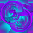 canvas print picture - Seamless abstract pattern of elements with a distortion effect. Curved and twisted surfaces, wavy lines. Pink, blue, turquoise gradients.