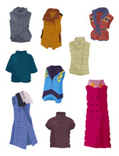 Women's Spring And Winter Vests, Beautiful Clothing For Sport And Everyday Life, Isolated On White Background