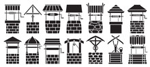 Water Well Vector Black Set Ic...