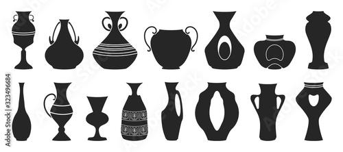Vase for flower black vector illustration on white background Wallpaper Mural