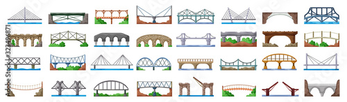 Bridge of construction vector cartoon set icon.Vector illustration river architecture on white background .Isolated cartoon set icon bridge of construction.