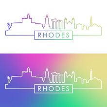 Rhodes Skyline. Colorful Linea...