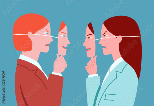 Profile portrait of two young business women hiding real expressions of mutual dislike with smiling masks Wallpaper Mural