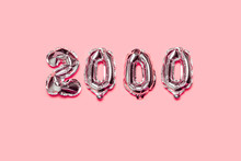 Air Helium Silver 2000 Balloons On A Pink Background. Congratulation Followers Concept. Holiday Party Decoration
