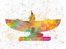 Egyptian Goddess Isis In Wate...