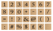 Numbers And Symbols On Wooden ...