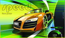 Poster Advertising For Cars, Motor Racing. Vector Illustration. Detailed Sports Car With Stylized Elements.
