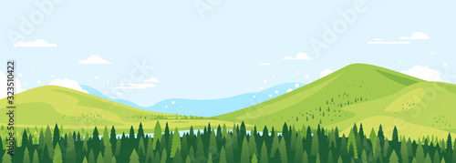 Fototapeta Spruce forest top in summer day landscape background in simple geometric form, wildlife panorama with mountain hills and river in the valley in sunny day with blue sky, green triangular spruces obraz