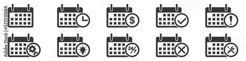 Photo Calendar vector icons. Set of calendar symbols